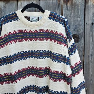 Vintage Textured Striped Multicolored Knit Sweater